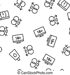 Porno Film Industry Vector Seamless Pattern Thin Line ...