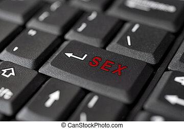 pornografía, mensaje, sexo, tecla de ingreso