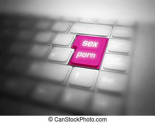 pornografia, grande, botão, sexo, destacado, teclado