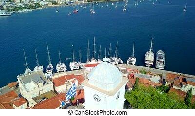 Poros island in Greece. Aerial drone photo - Poros island in...