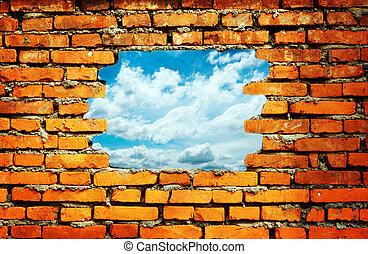 poroso, parede, ver, a, céu azul