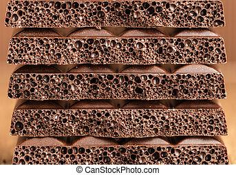 poroso, primer plano, chocolate