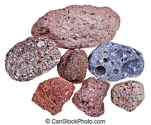 porous pumice stones isolated on white background