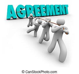 porozumienie, drużyna, ciągnący, 3d, słowo, concensus, pracujący, pertraktować, osada