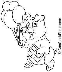 porquinho, e, balões