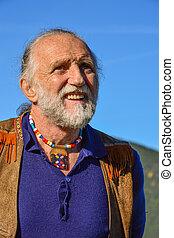 Porrait of impressive elderly man