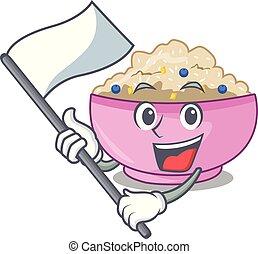 porridge, avena, cotto, bandiera, intero, cartone animato, pan