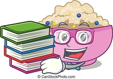 porridge, avena, cotto, libro, studente, intero, cartone animato, pan