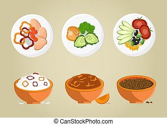Porridge Bowls Collection Vector Illustration