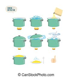 porridge., cocina, instruction., conjunto, infographics, iconos