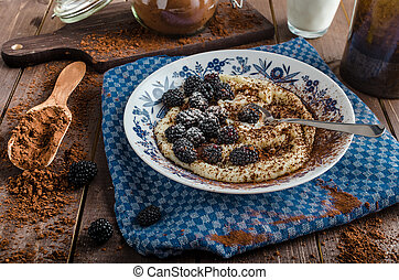 Porridge - czech original with berries, sugar and cocoa ...