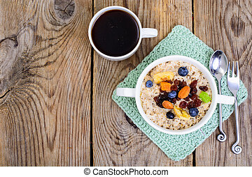Porridge from oatmeal for breakfast