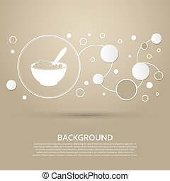 porridge icon on a brown background with elegant style and modern design infographic. Vector