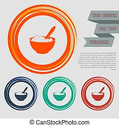 porridge icon on the red, blue, green, orange buttons for your website and design with space text. Vector