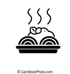 porridge, illustration, boulettes viande, isolé, signe, vecteur, arrière-plan noir, icône