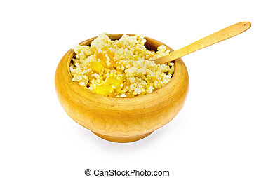 Porridge millet with pumpkin in a wooden bowl with spoon