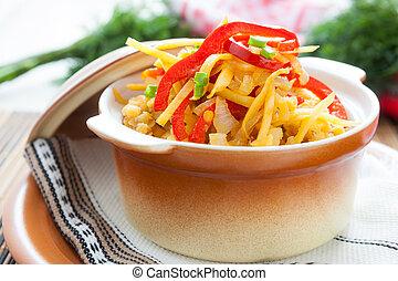 porridge of lentils with vegetables