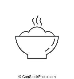 porridge, plaque, manger, contour, sain, editable, symbole, -, pixel, préparé, chaud, fraîchement, parfait, petit déjeuner, repas, icône