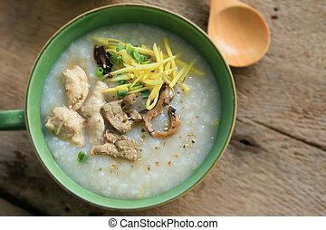 porridge, tritato, riso, carne di maiale