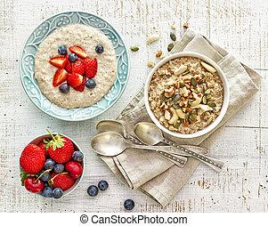 porridge, vario, due, ciotole