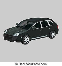 Porsche Cayenne Turbo vector icon on a grey background. Suv ...