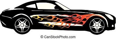 Porsche Sport Car Flame Fast Vector