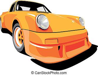 Porshe orange - Vectorial image of Porsche 911 (1973 year)