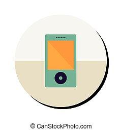 portátil, música, dispositivo, en, redondo, marco