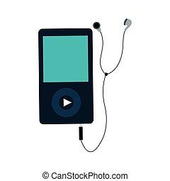 portátil, música, dispositivo, icono