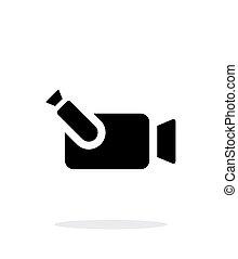 portátil, simple, fondo., cámara, blanco, icono