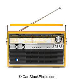 portátil, transistor, aislado, radio, plano de fondo, frente...