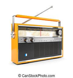 portátil, transistor, aislado, radio, plano de fondo,...