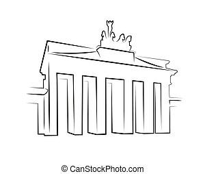 portão, brandenburg, silueta