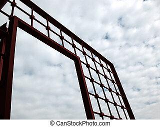 portão, céu, vermelho