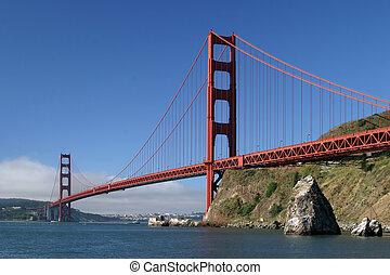 portão, dourado, ponte