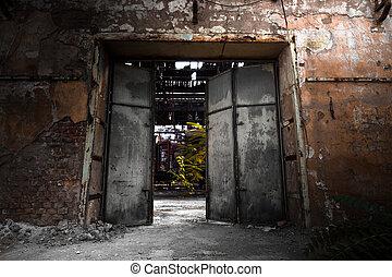 portão ferro, em, um, edifício industrial