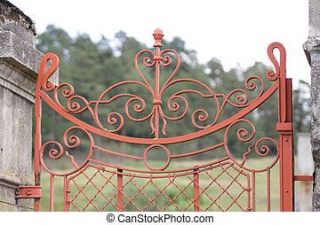 portão, ferro forjado