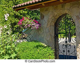 portão, ferro, jardim, fantasia, forjado