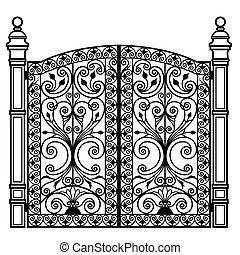 portão, forjado, ferro