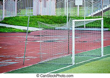 portão, futebol, antigas, stadium., vazio