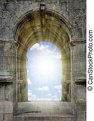 portão, para, céu