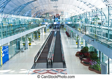 portão partida, e, corredor, em, a, novo, aeroporto