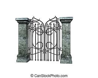 portão, pedra