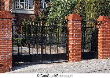 portão, pretas, forjado