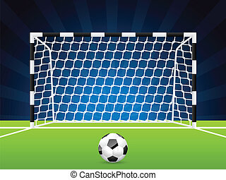 portão, rede, bola, futebol