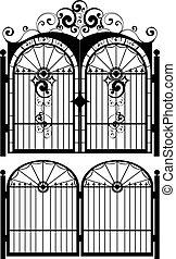 portão, silueta, ferro
