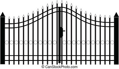 portão, silueta, vetorial