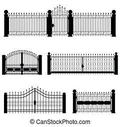 portão, vetorial, cerca