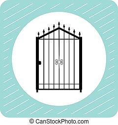portão, vetorial, silueta