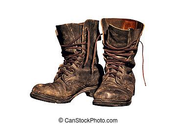 porté, soldats, vieux, bottes, travail